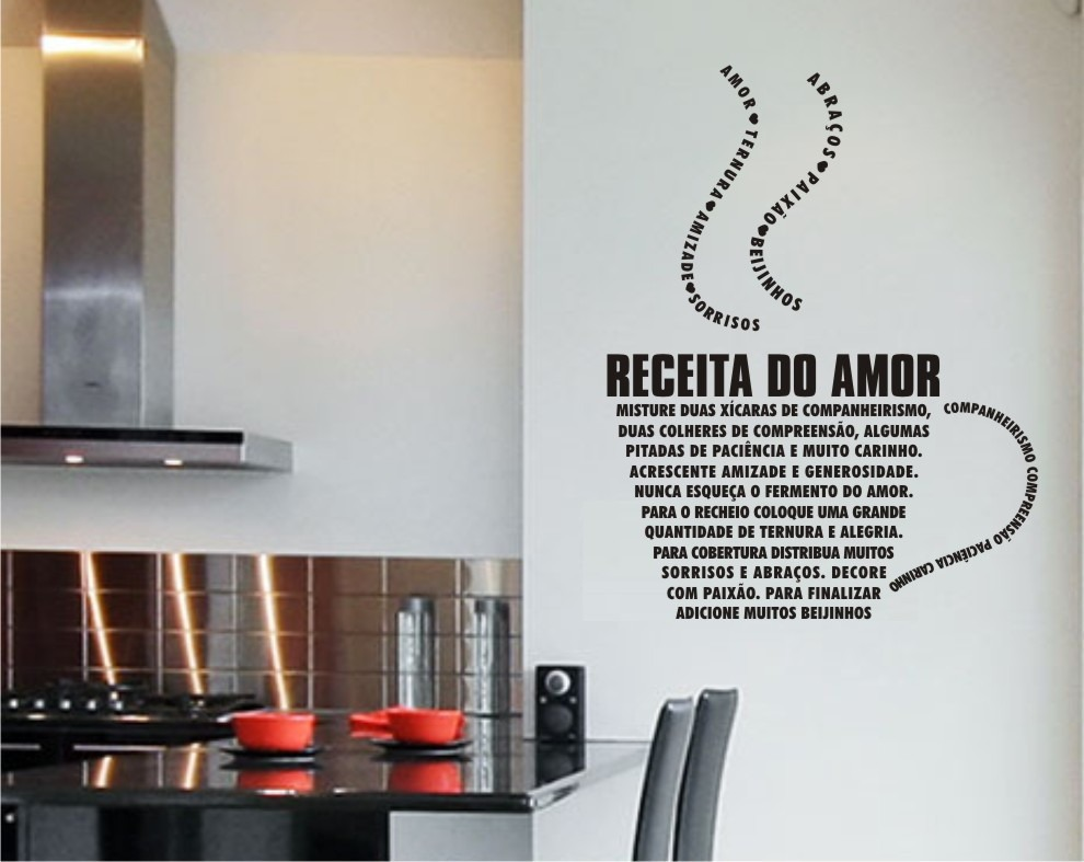 Artesanato Com Tecido E Cola ~ Adesivo Decorativo De Parede Para Cozinha Receita Do Amor R$ 54,90 em Mercado Livre