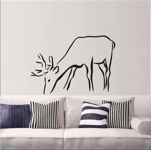 adesivo decorativo de parede veado alce natureza chifres