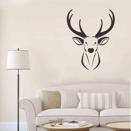 adesivo decorativo de parede veado natureza chifre alce
