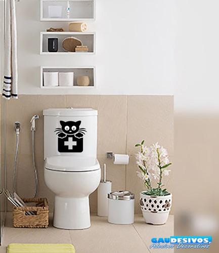 adesivo decorativo de parede/banheiro gato da saúde