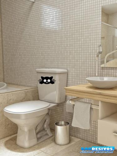 adesivo decorativo de parede/banheiro rosto de gato