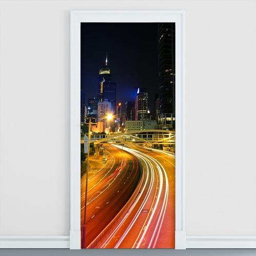 adesivo decorativo de porta -  avenida - rua - 131mlpt