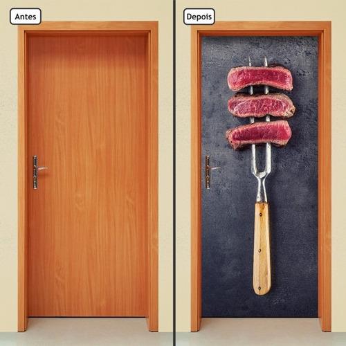 adesivo decorativo de porta - carne - comida - 814mlpt