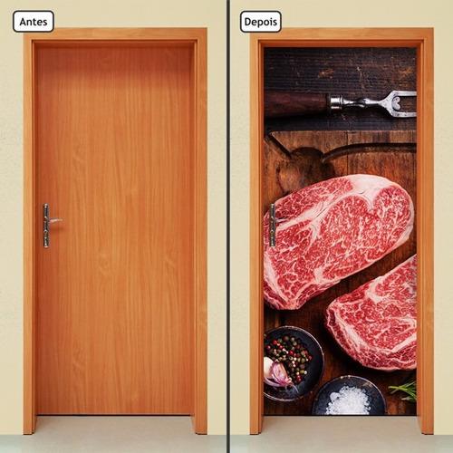 adesivo decorativo de porta - carne - comida - 828mlpt