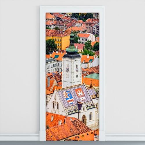 adesivo decorativo de porta - cidade - casas - 061mlpt