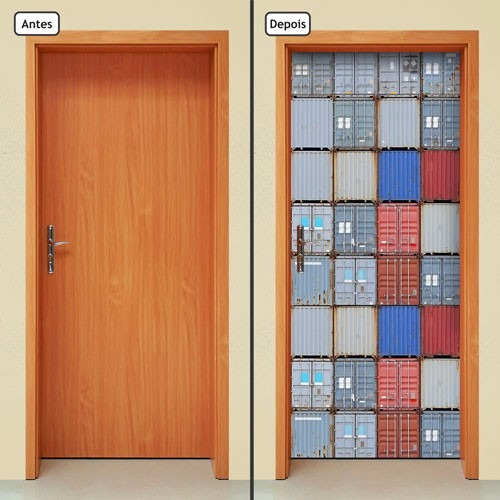 adesivo decorativo de porta - contêineres - 119mlpt