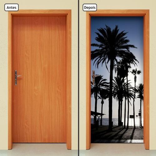 adesivo decorativo de porta - coqueiros - praia - 002mlpt