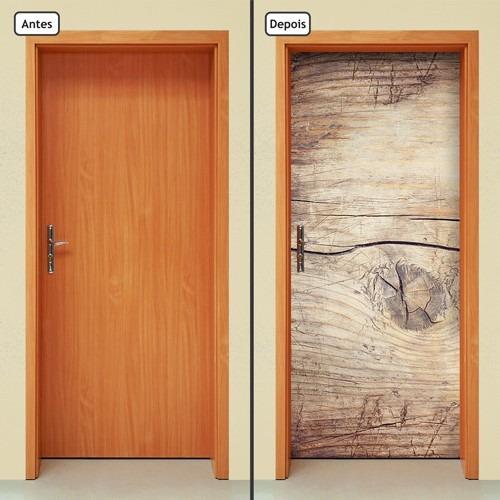 adesivo decorativo de porta - madeira - tronco - 141mlpt