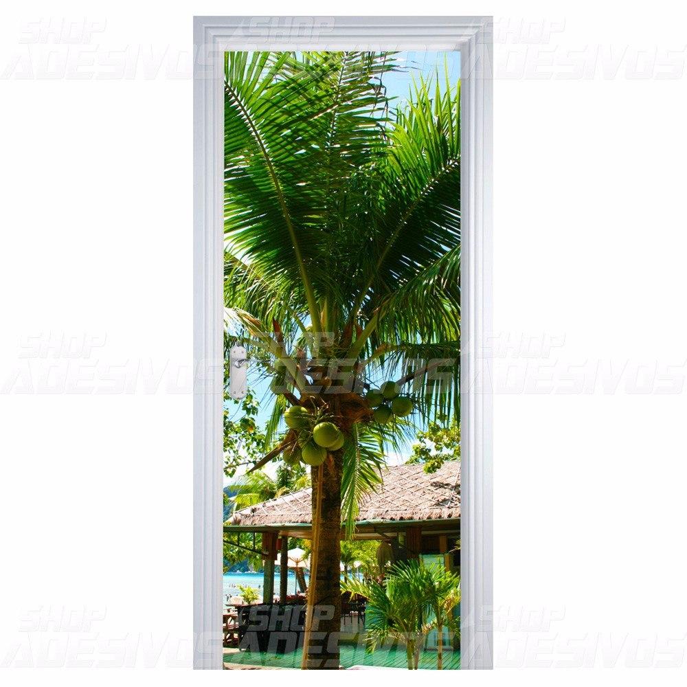Adesivo decorativo de porta madeira vidro coqueiro r 69 for Adesivos p porta de vidro