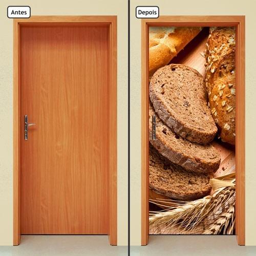 adesivo decorativo de porta - pães - comida - 014mlpt