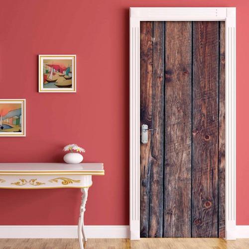adesivo decorativo de porta - texturas madeira 1 g