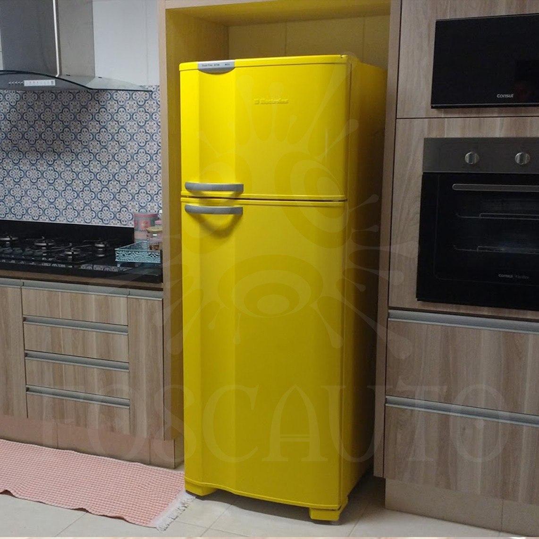 Armario Planejado Cozinha ~ Adesivo Decorativo Envelopamento Porta Geladeira Móveis 1m R$ 15,00 em Mercado Livre
