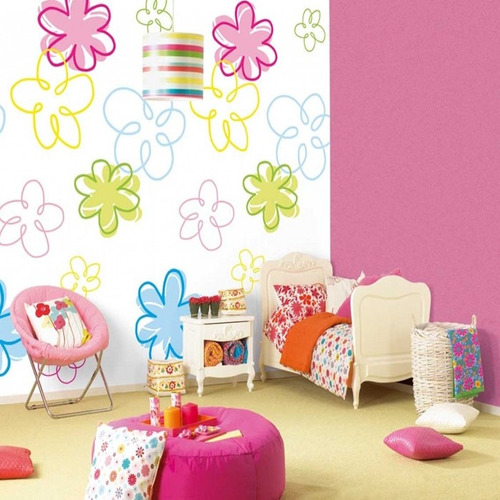 adesivo decorativo floral colorido (250x120) frete gratis