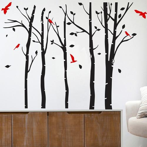adesivo decorativo floresta pássaros (165x130)cm