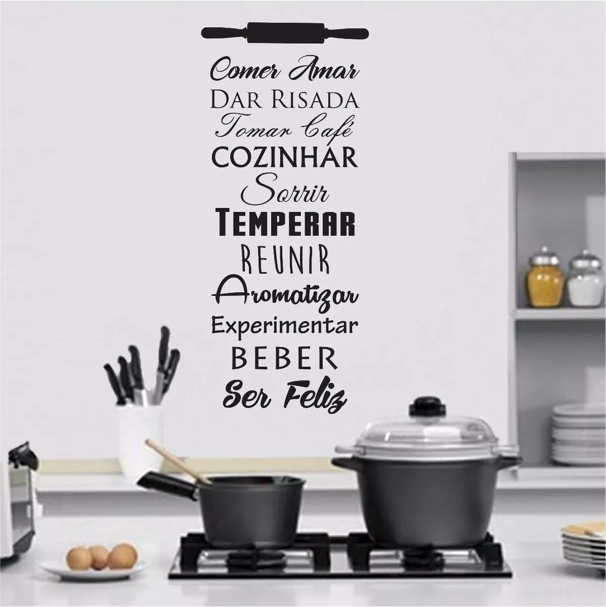 Adesivo Decorativo Frase Para Cozinha Sala De Jantar Copa R 39 00  -> Adesivos Decorativos Para Sala De Jantar