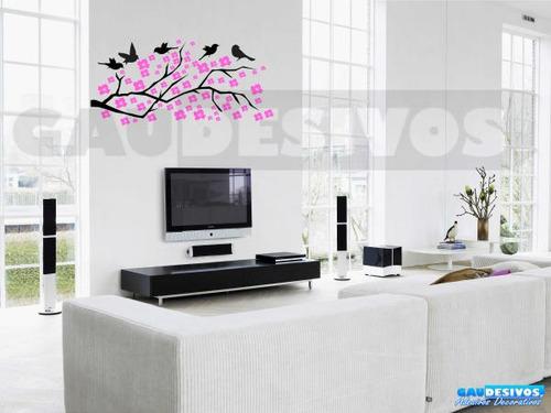 adesivo decorativo galhos com pássaros e flores decoração