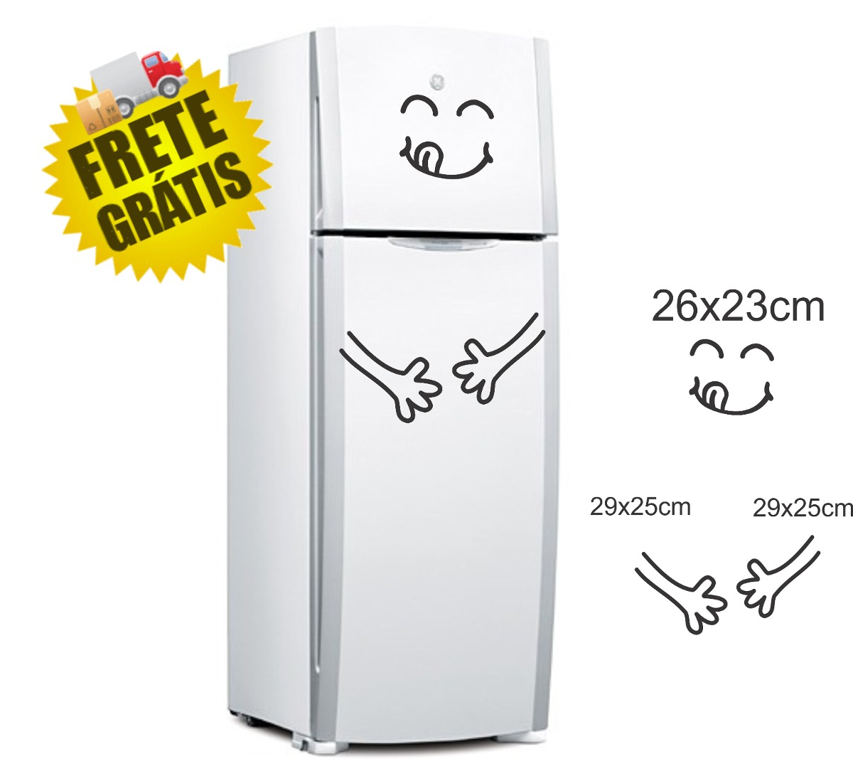 Adesivo decorativo geladeira comil o freezer parede casa - Temperatura freezer casa ...