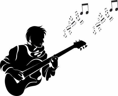 adesivo decorativo homem tocando violão - nota musical
