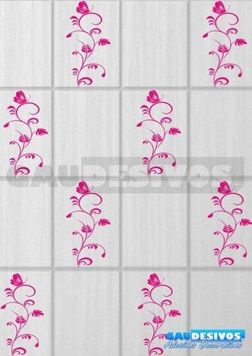 adesivo decorativo kit floral 10 adesivo flores e borboletas