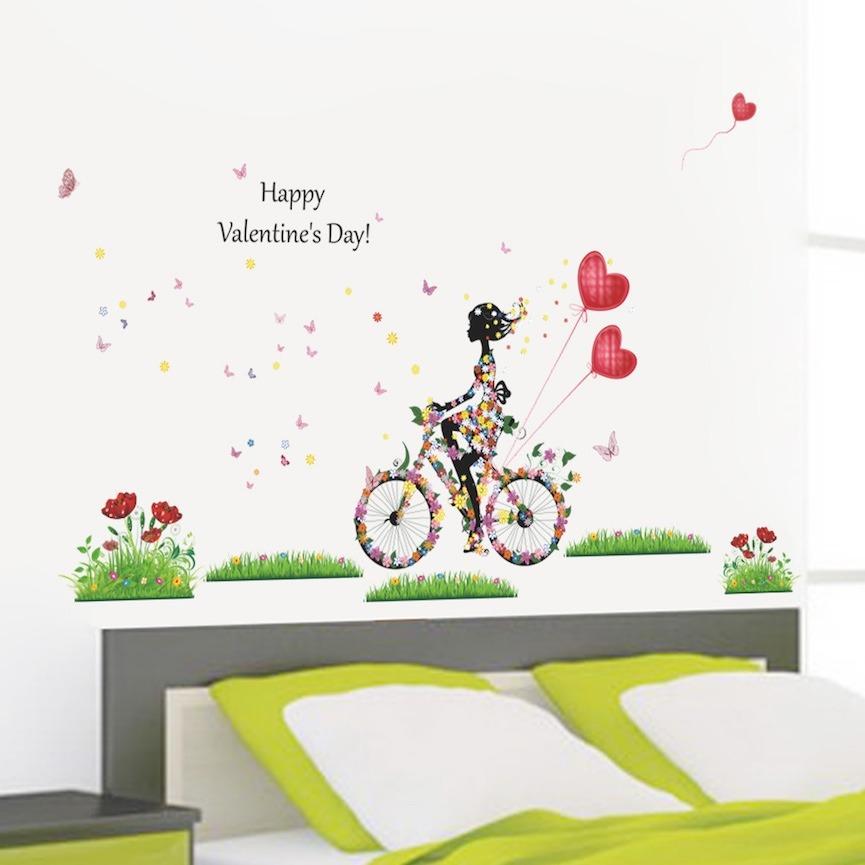 Aparador De Livro Xadrez ~ Adesivo Decorativo Menina + Bicicleta + Flores + Corações