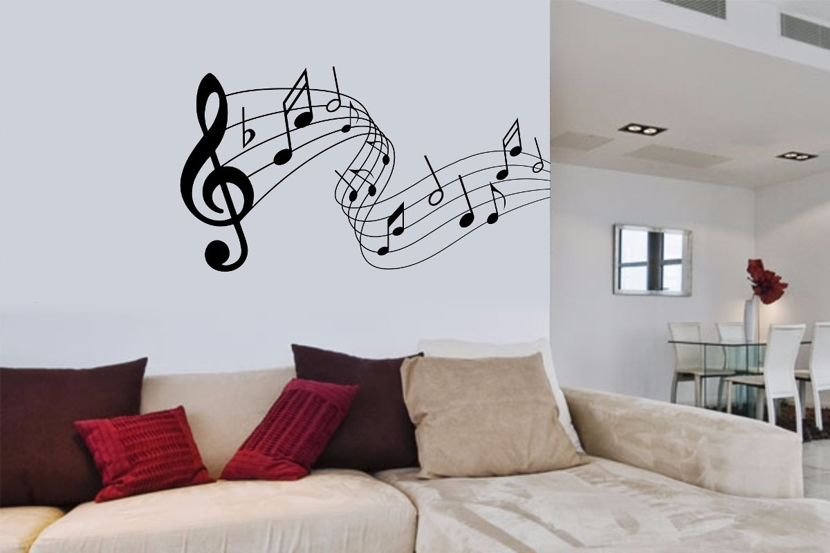 Adesivo decorativo musica notas musicais claves papel for Papel de pared decorativo