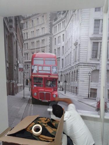 adesivo decorativo ônibus londres (parede inteira)