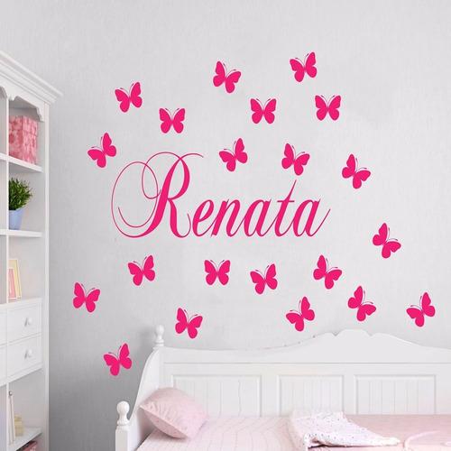adesivo decorativo nome + cartela de borboletas