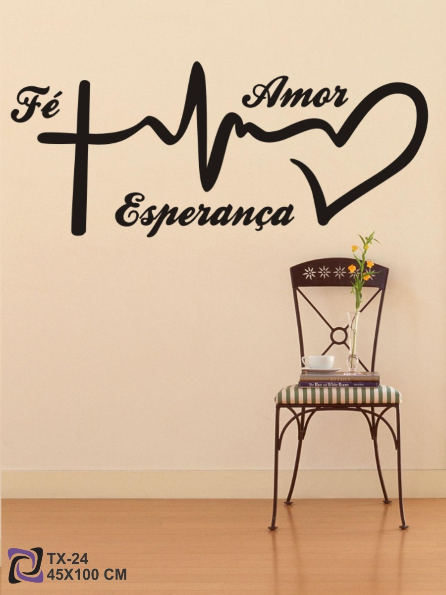 Adesivo Decorativo P Parede Sala Frase Fé Amor Esperança