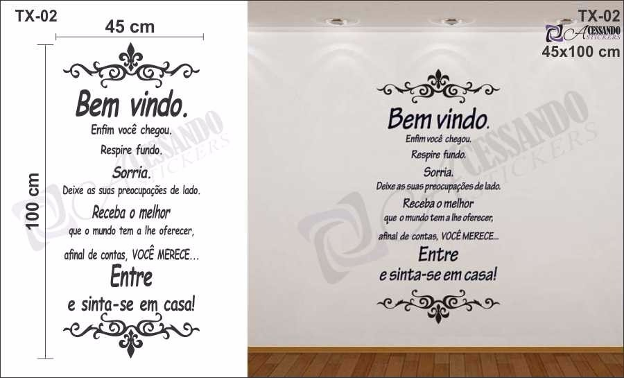 Adesivo decorativo papel de parede bem vindo recep o - Papel decorativo barato ...