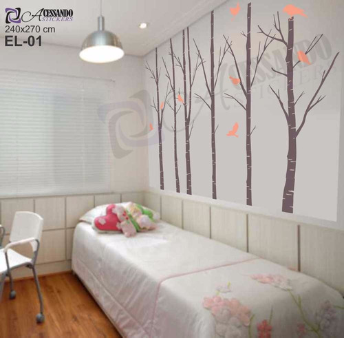Adesivo decorativo papel parede arvore seca floresta for Papel decorativo barato