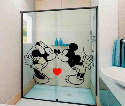 adesivo decorativo para box de banheiro mickey e minnie love
