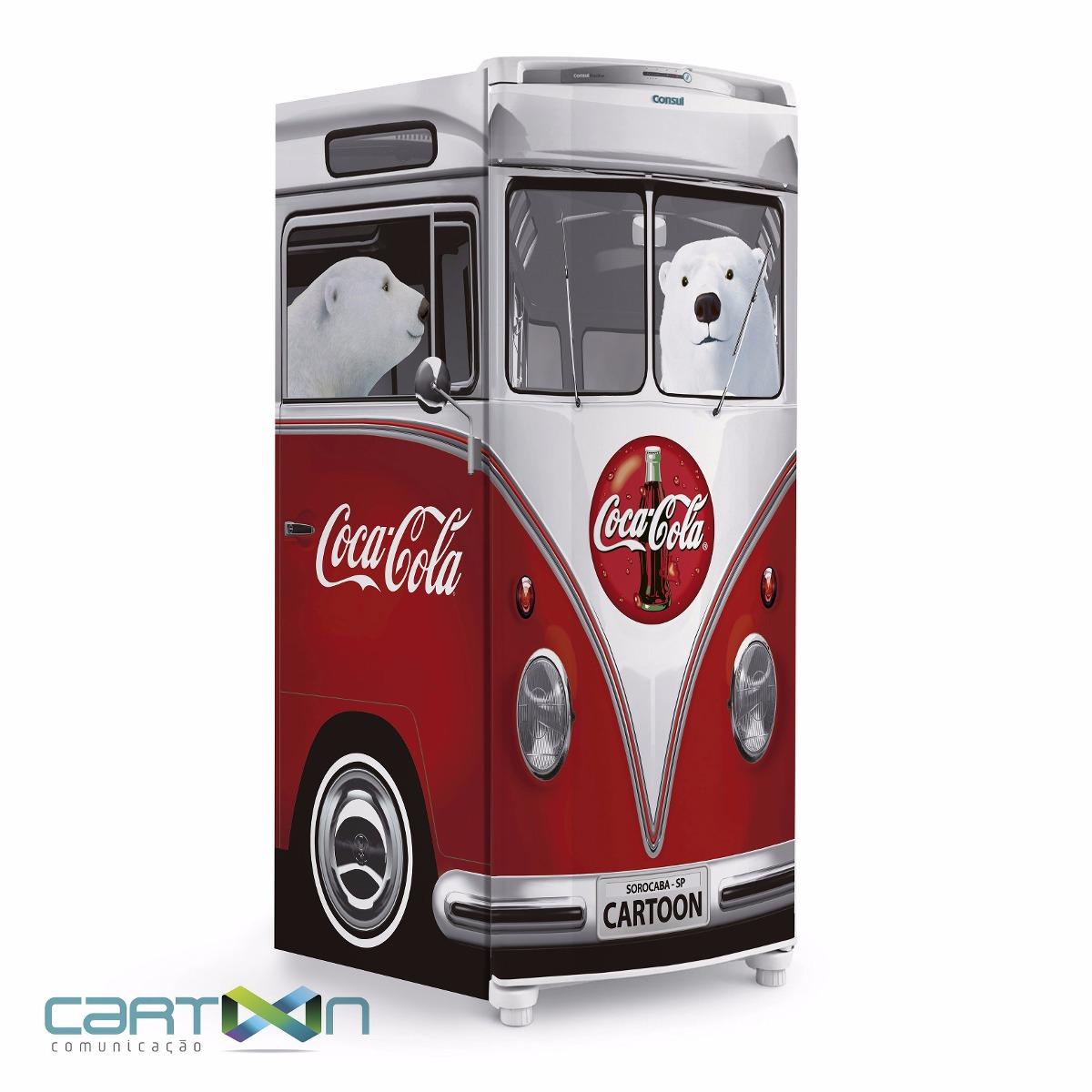 Adesivo De Kart ~ Adesivo Decorativo Para Geladeira Kombi 3d Vw Coca Cola R$ 239,00 em Mercado Livre