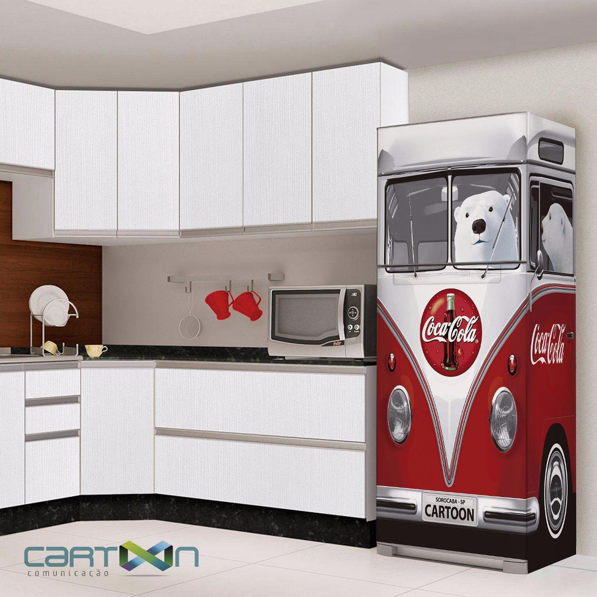 Adesivo Kombi Geladeira ~ Adesivo Decorativo Para Geladeira Kombi 3d Vw Coca Cola R$ 209,00 em Mercado Livre