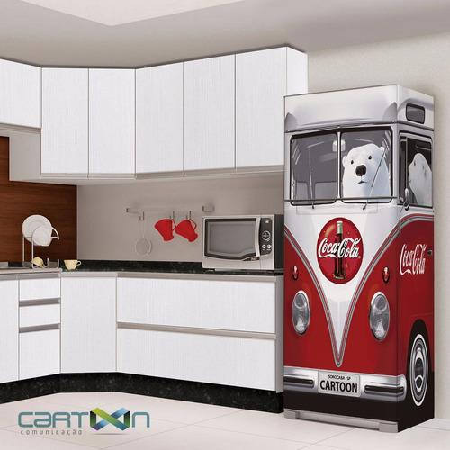 Armario Branco Para Quarto ~ Adesivo Decorativo Para Geladeira Kombi 3d Vw Coca Cola R$ 209,00 em Mercado Livre