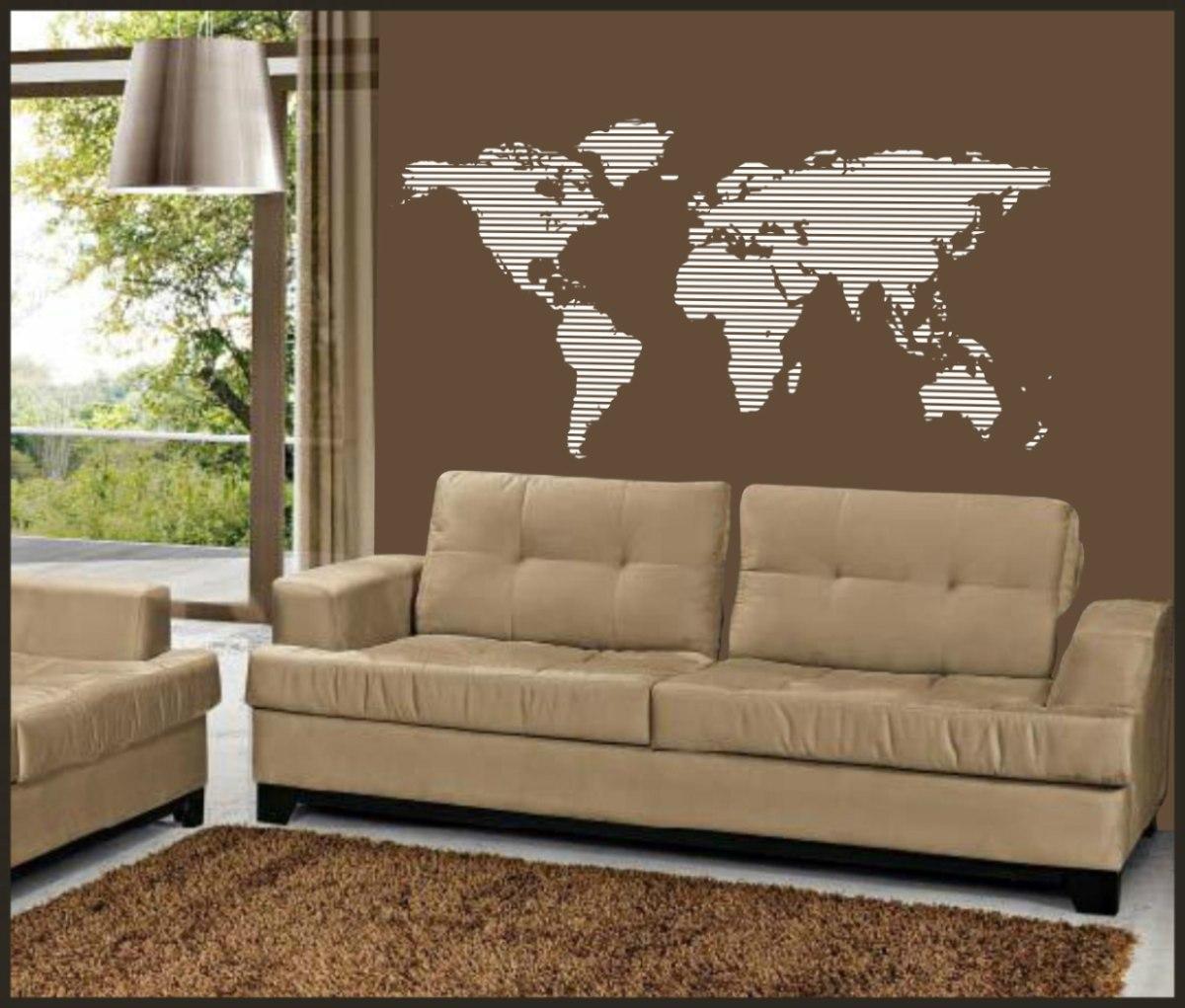 Adesivo De Parede Mapa Mundi Mercado Livre ~ Adesivo Decorativo Para Paredes, Mapa Mundi Listrado Tam