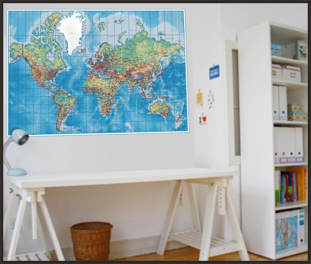 Adesivo Decorativo Para Paredes Mapa Mundi Poltico Tam G  R