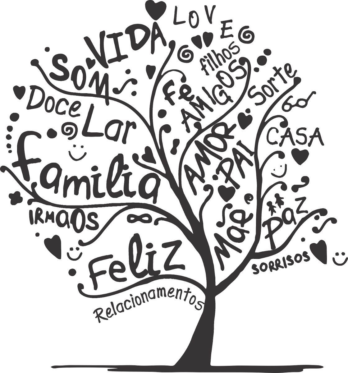 adesivo decorativo parede arvore com palavras love free family reunion tree clip art Printable Family Reunion Tree