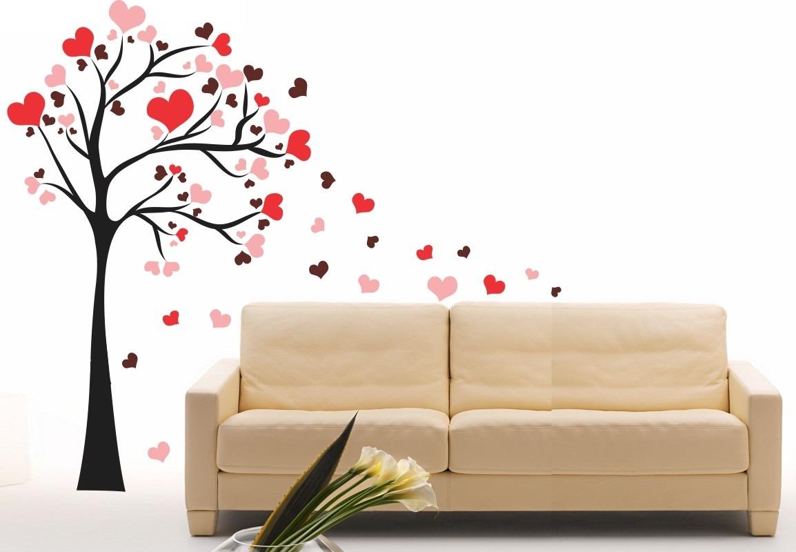 Artesanato Quadros Decorativos Passo A Passo ~ Adesivo Decorativo Parede Arvore Coraç u00e3o Rom u00e2ntico Romance R$ 99,41 em Mercado Livre