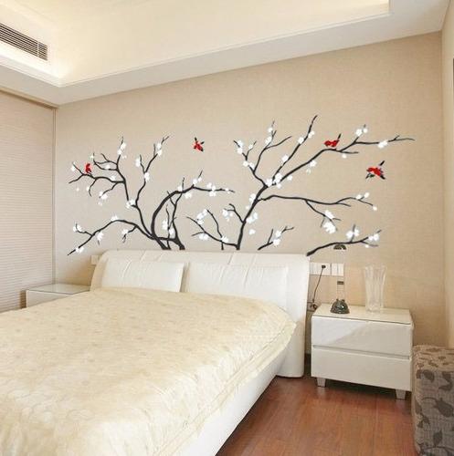 adesivo decorativo parede árvore flores brancas