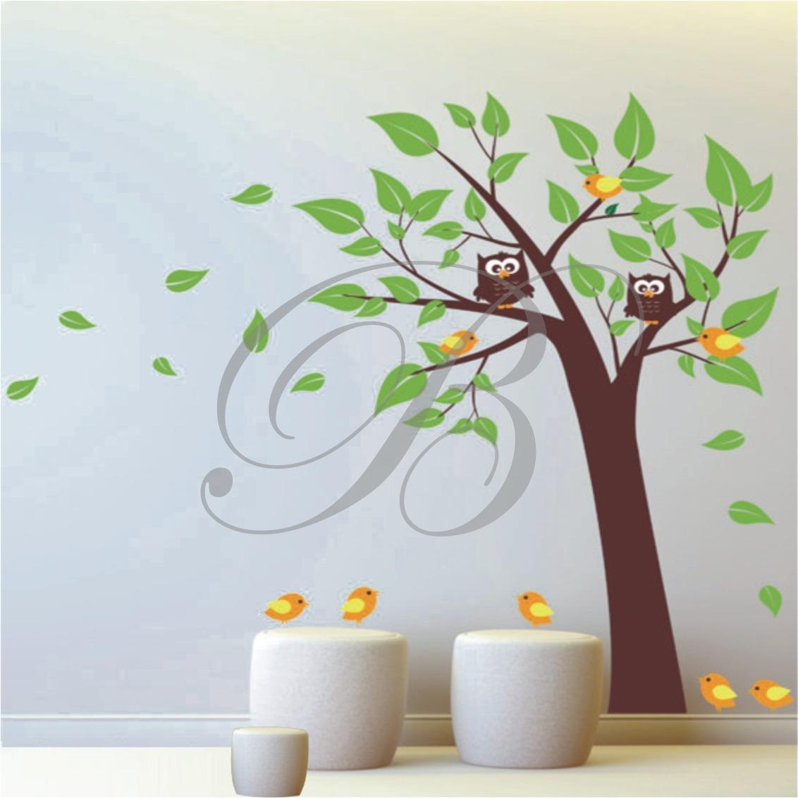 Adesivo Decorativo Parede Rvore Galho P Ssaros Rvore Flor R 129  -> Modelos De Papel De Parede Em Forma De Flores