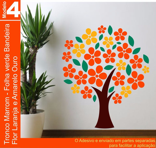adesivo decorativo parede arvores flores galhos 87 x 100 cm