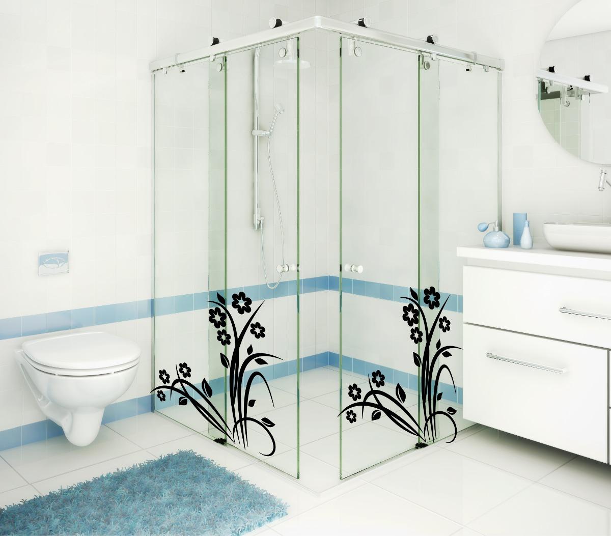 Tuca Artesanato Resende Costa ~ Adesivo Decorativo Parede Banheiro Box Vidro Floral Flores R$ 19,98 em Mercado Livre