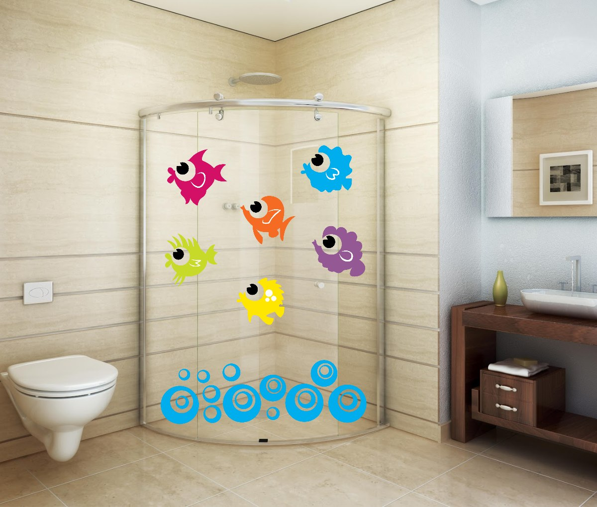 Adesivo Decorativo Parede Banheiro Porta Box Bolha Peixe R$ 24 99 em  #0991C2 1200x1020 Banheiro Container Brasilia