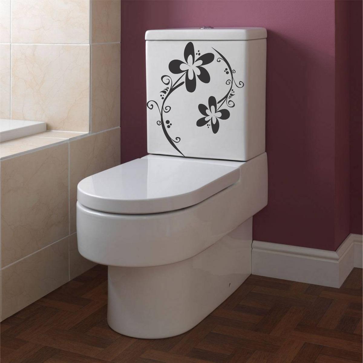 Adesivo Decorativo Parede Banheiro Vaso Sanitário Floral R$ 14,98 em Mercado Livre