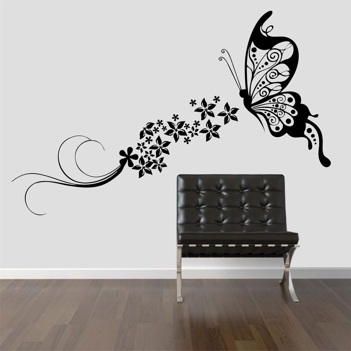 Armario Ferro Com Chave ~ Adesivo Decorativo Parede Borboleta Floral Flores Grande R$ 49,99 em Mercado Livre
