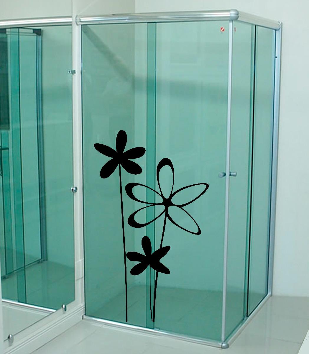 #205B50  Parede Box Vidro Banheiro Flor Floral R$ 21 99 em Mercado Livre 1048x1200 px papel de parede para banheiro mercado livre