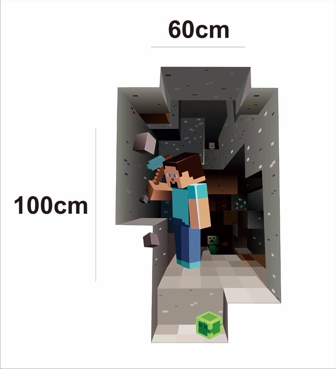Aparador Estreito Branco ~ Adesivo Decorativo Parede Buraco 3d Minecraft Frete