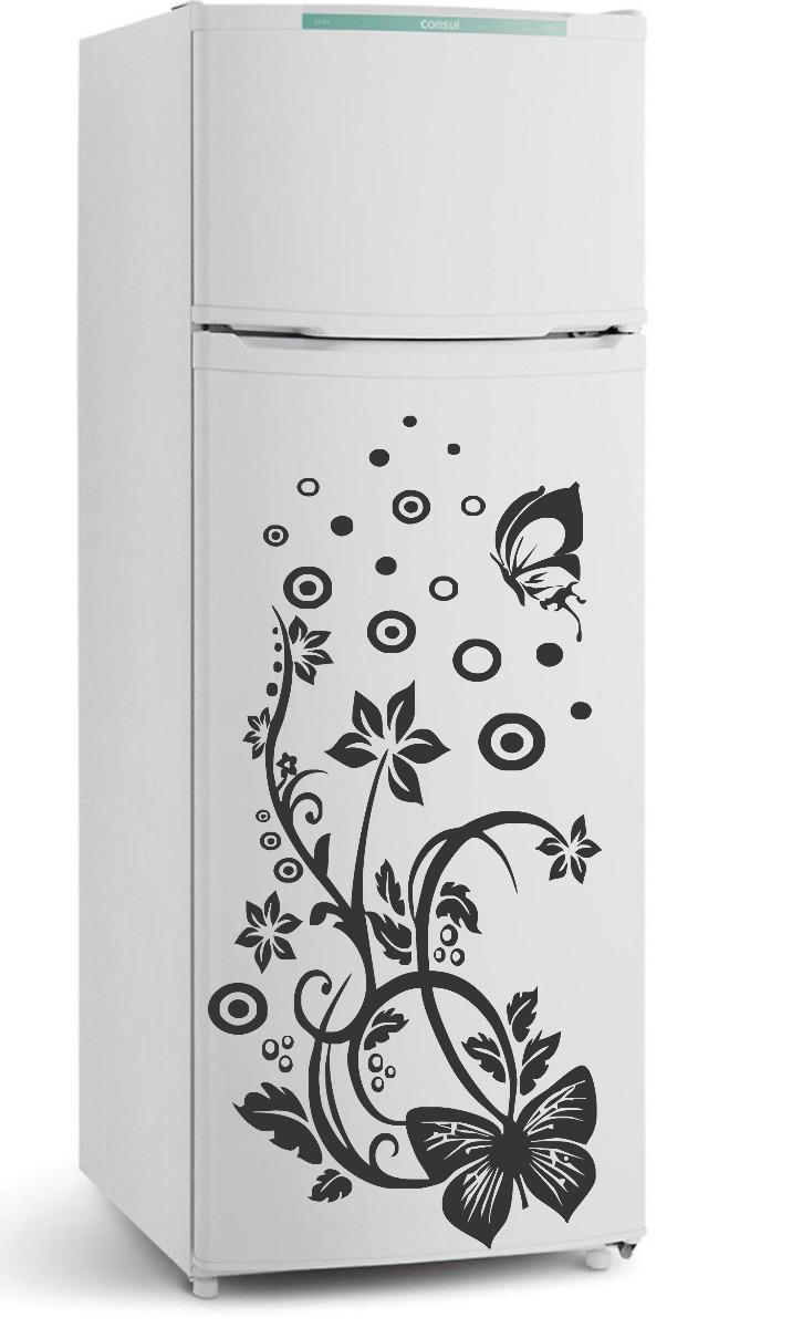 Adesivo De Olhos Para Biscuit ~ Adesivo Decorativo Parede Cozinha Geladeira Floral Borboleta R$ 34,99 em Mercado Livre