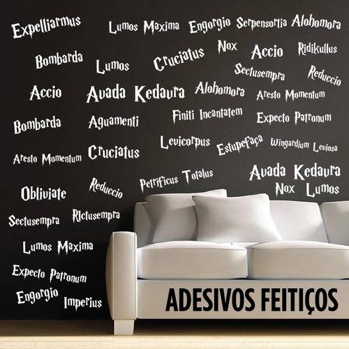 adesivo decorativo parede - feitiços harry potter magias hp