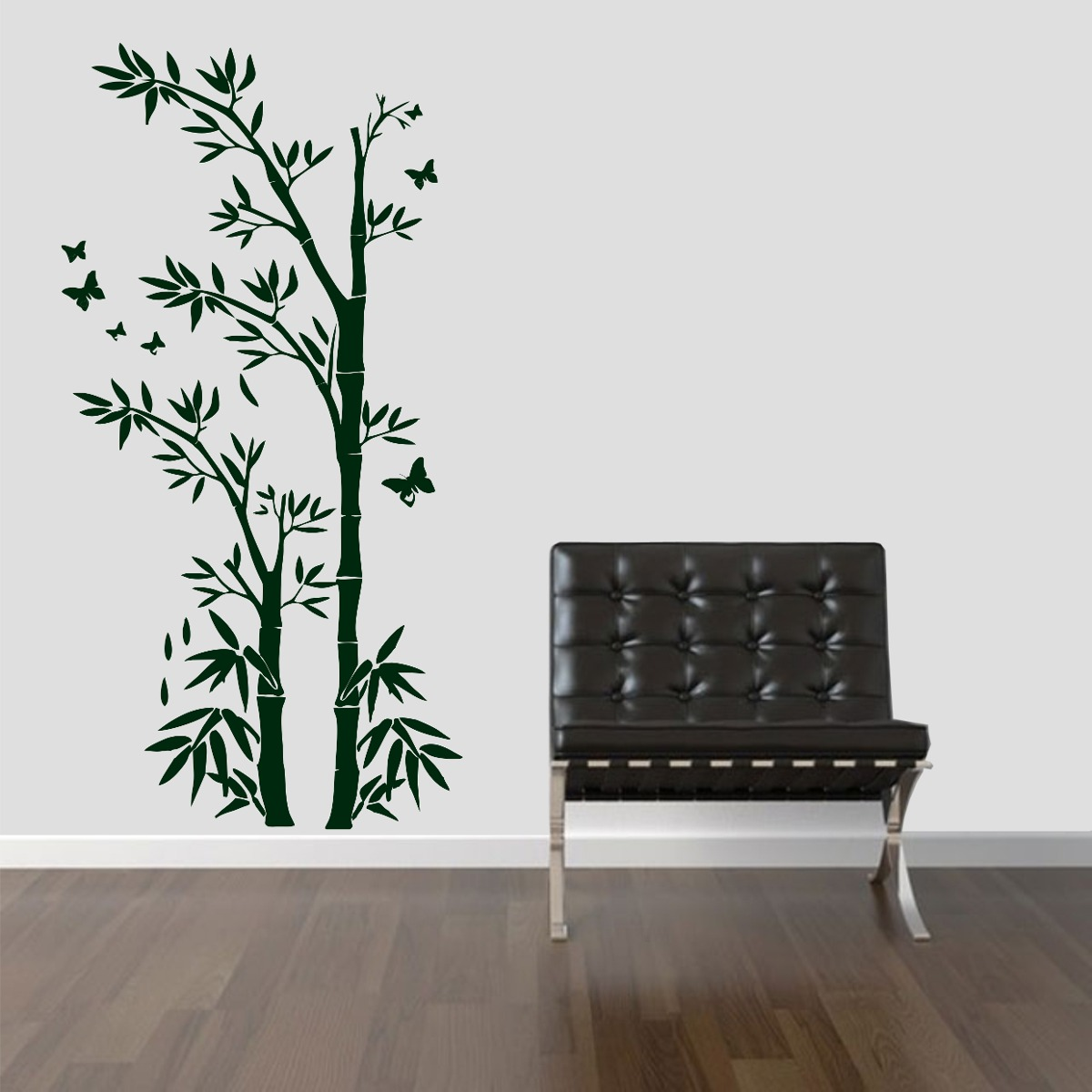 Adesivo Decorativo Para Vidro ~ Adesivo Decorativo Parede Floral Bambu Galhos Borboleta R$ 39,99 em Mercado Livre